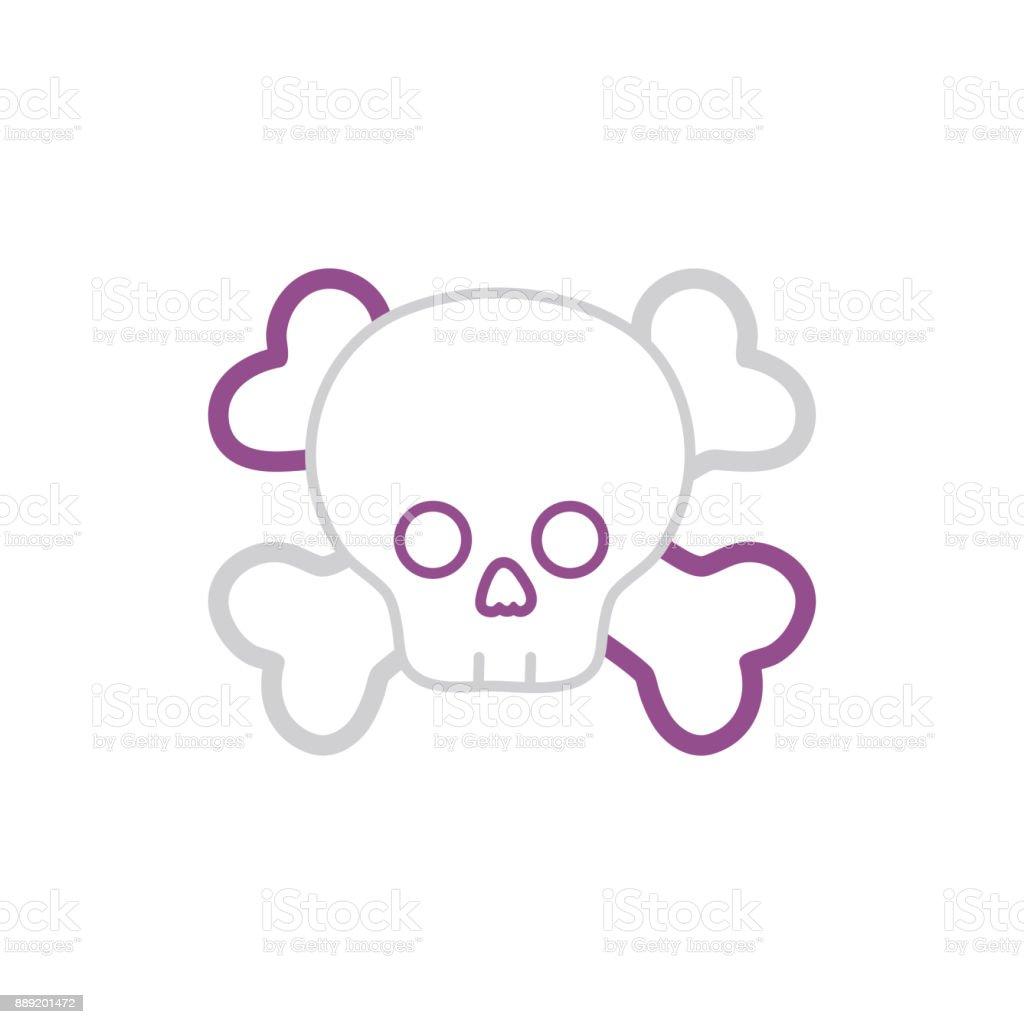 color line darger skull with bones to death symbol vector art illustration