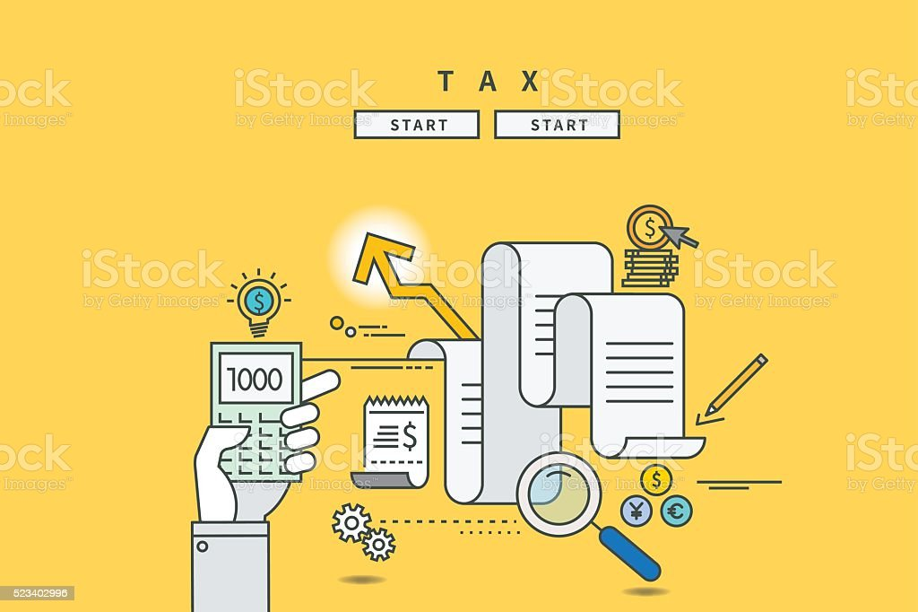 color line flat design of tax vector art illustration