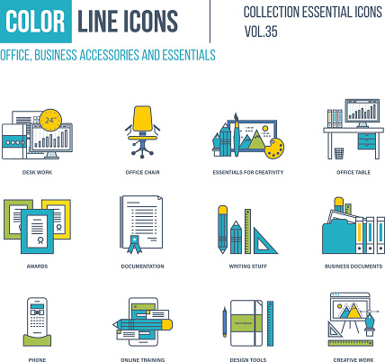 Color Line icons collection. Office, business accessories.