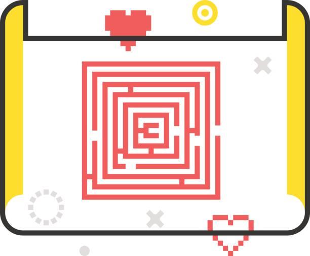 color line, ebene entwicklung illustration, symbol - schatzkarten hintergründe stock-grafiken, -clipart, -cartoons und -symbole