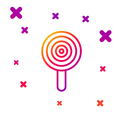 Color line Lollipop icon isolated on white background. Candy sign. Food, delicious symbol. Gradient random dynamic shapes. Vector