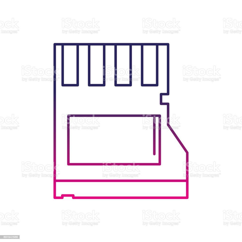 color line micro sd memory data technology vector art illustration