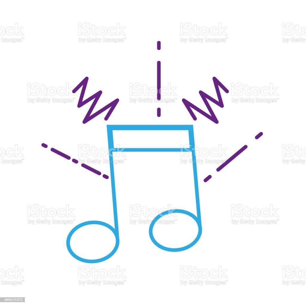 color line musical note sign to rhythm sound vector art illustration