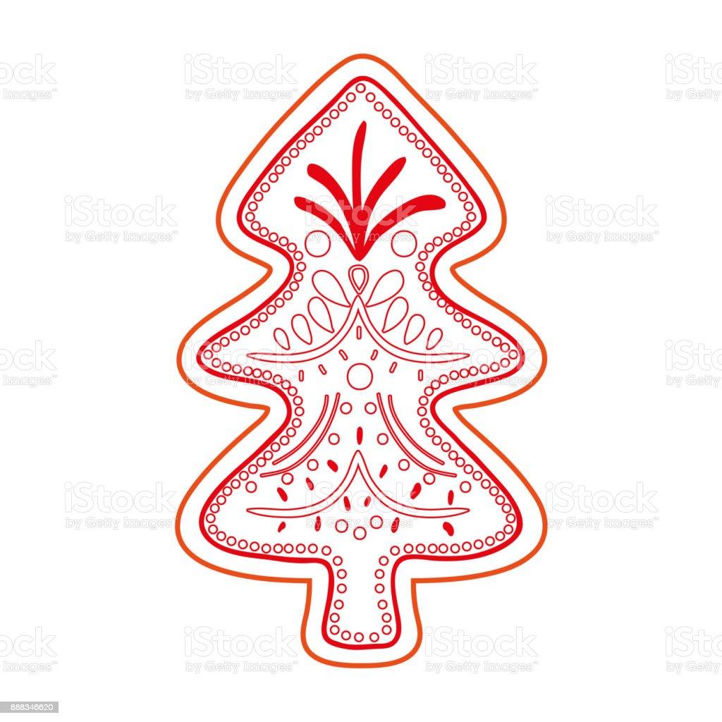 Ilustración de Línea De Color Pino árbol Navidad Decoración y más ...