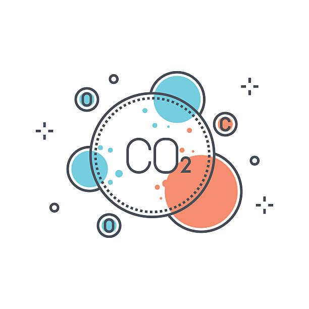 bildbanksillustrationer, clip art samt tecknat material och ikoner med color line, pollution concept illustration, icon - co2