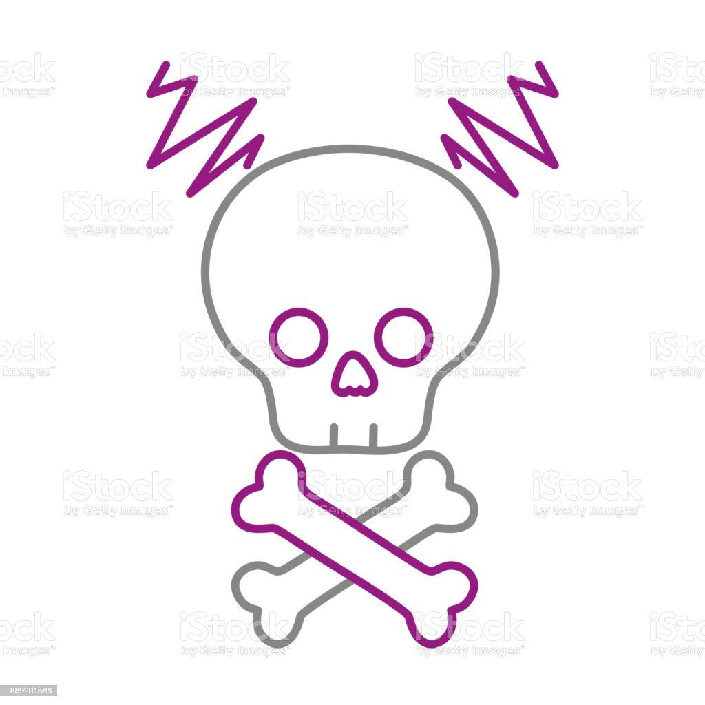 color line skull with bones to dander symbol to death vector art illustration