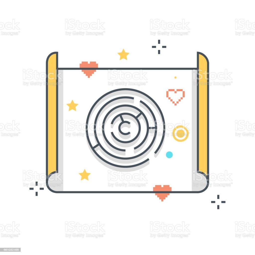 Línea de color, Ilustración de concepto de mapa de tesoro, icono - ilustración de arte vectorial