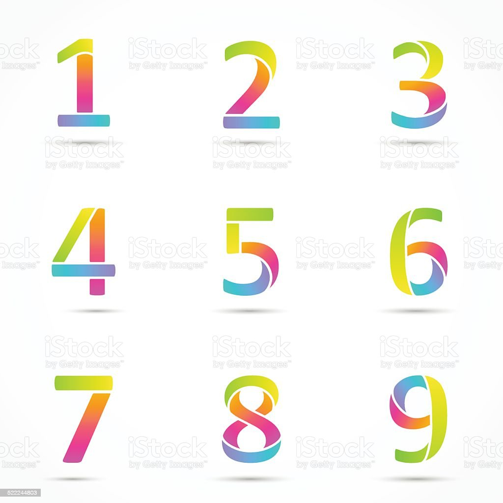 Color logo numbers font template.向量藝術插圖