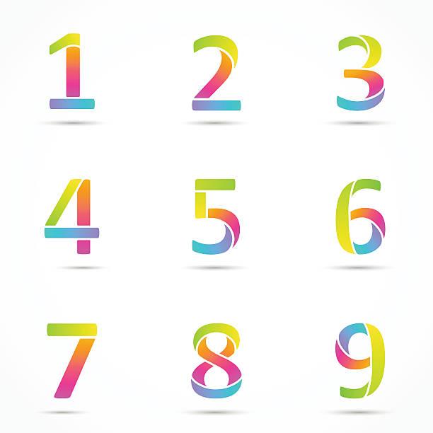 Color logo numbers font template. vector art illustration