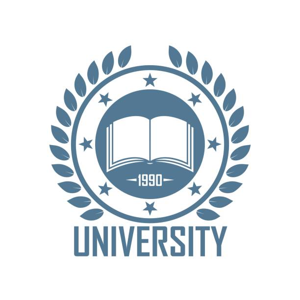 Color logo of the school Book star laurel leaves and text in blue university stock illustrations