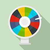 Color lucky wheel icon. Flat illustration of color lucky wheel vector icon for web design