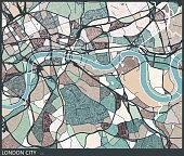 color lump style London city art map