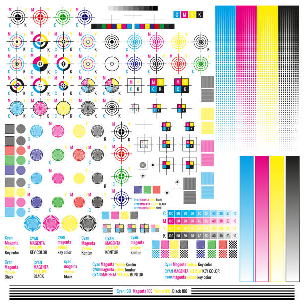 CMYK color management elements. Publishing graphic symbol utilities. Press mark. Calibration, cutting marks. EPS 10 CMYK color management elements. Publishing graphic symbol utilities. Press mark. Calibration, cutting marks. EPS 10 vector file printing plant stock illustrations