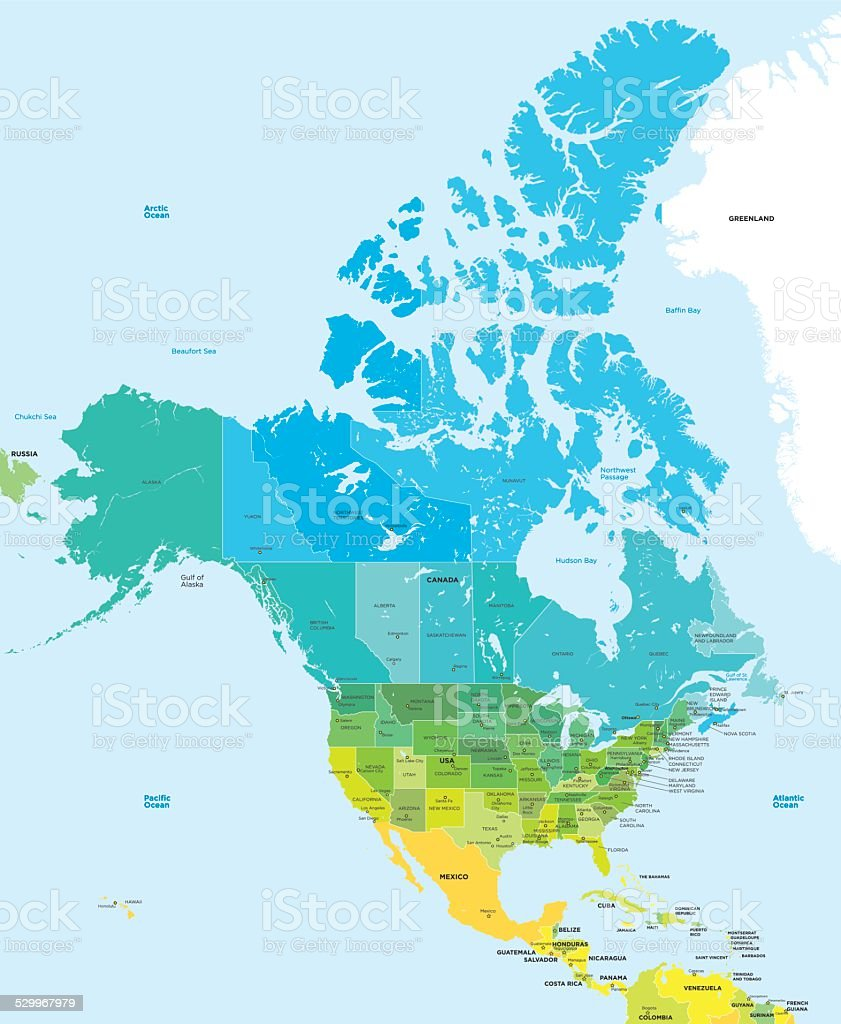 Color map of the USA and Canada vector art illustration