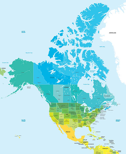 color map of the usa and canada - north america maps stock illustrations, clip art, cartoons, & icons
