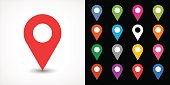 istock Color map pin sign location icon with drop shadow 639948212