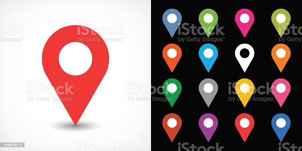 Color map pin sign location icon with drop shadow vector art illustration