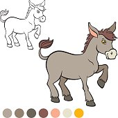 Color me: donkey. Little cute donkey stands and s