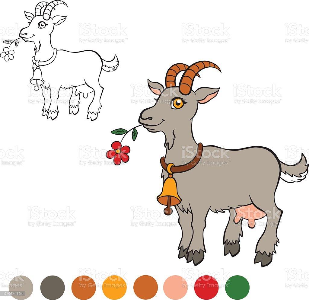 Ilustración de Me De Color Cabra Cabra Lindo Tiene Una Flor y más ...
