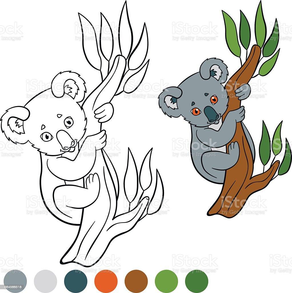 color me koala little cute baby koala smiles stock vector art