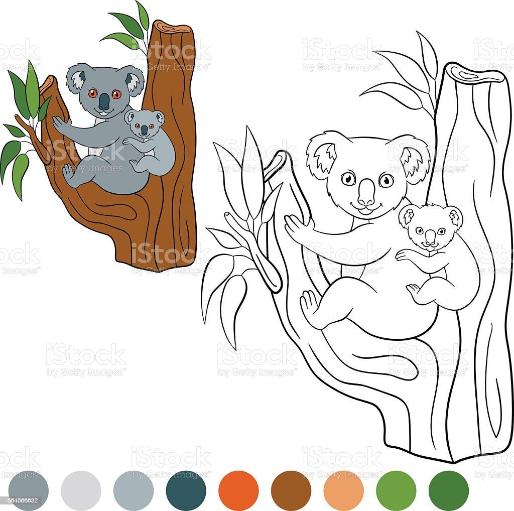Color me: koala. Mother koala with her cute baby.