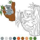 Color me: koala. Mother koala with her cute baby.