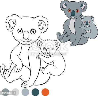 Ilustración de Color Me Koala Mother Koala With Her Cute Baby y más ...