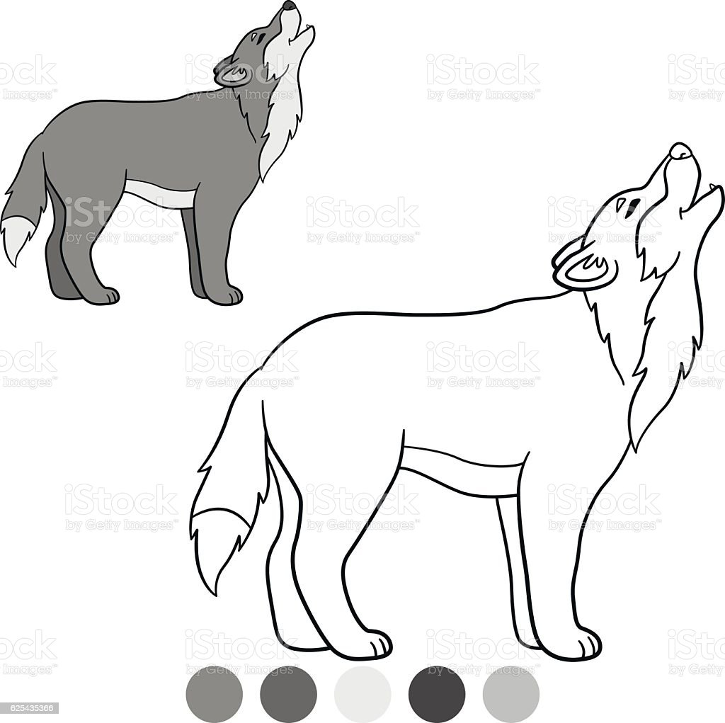 Color Me Wolf Cute Beautiful Wolf Howling Stock Vektor Art Und Mehr