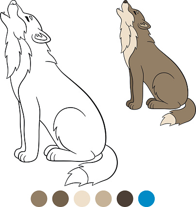 Color Me Wolf Cute Beautiful Wolf Howling Stock Vector Art ...