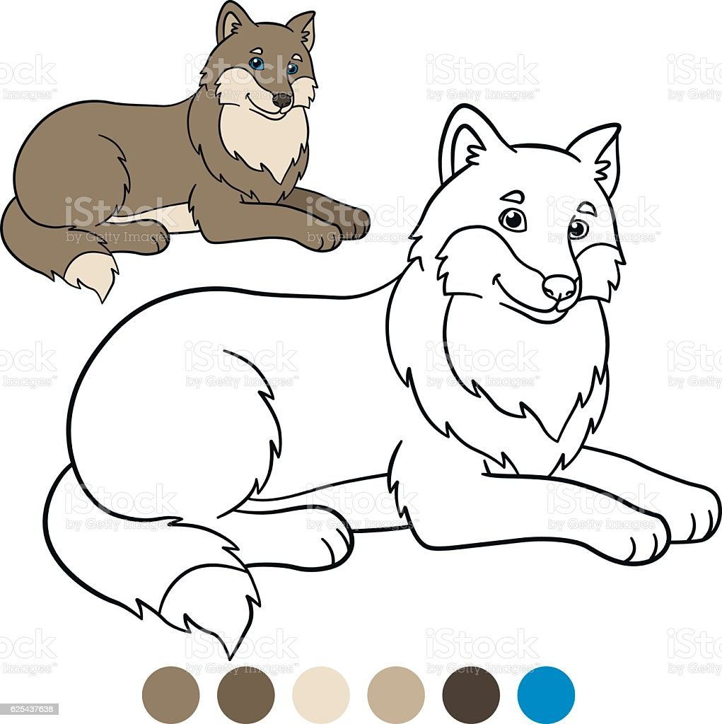 Color Me Wolf Cute Beautiful Wolf Smiles Stock Vektor Art Und Mehr