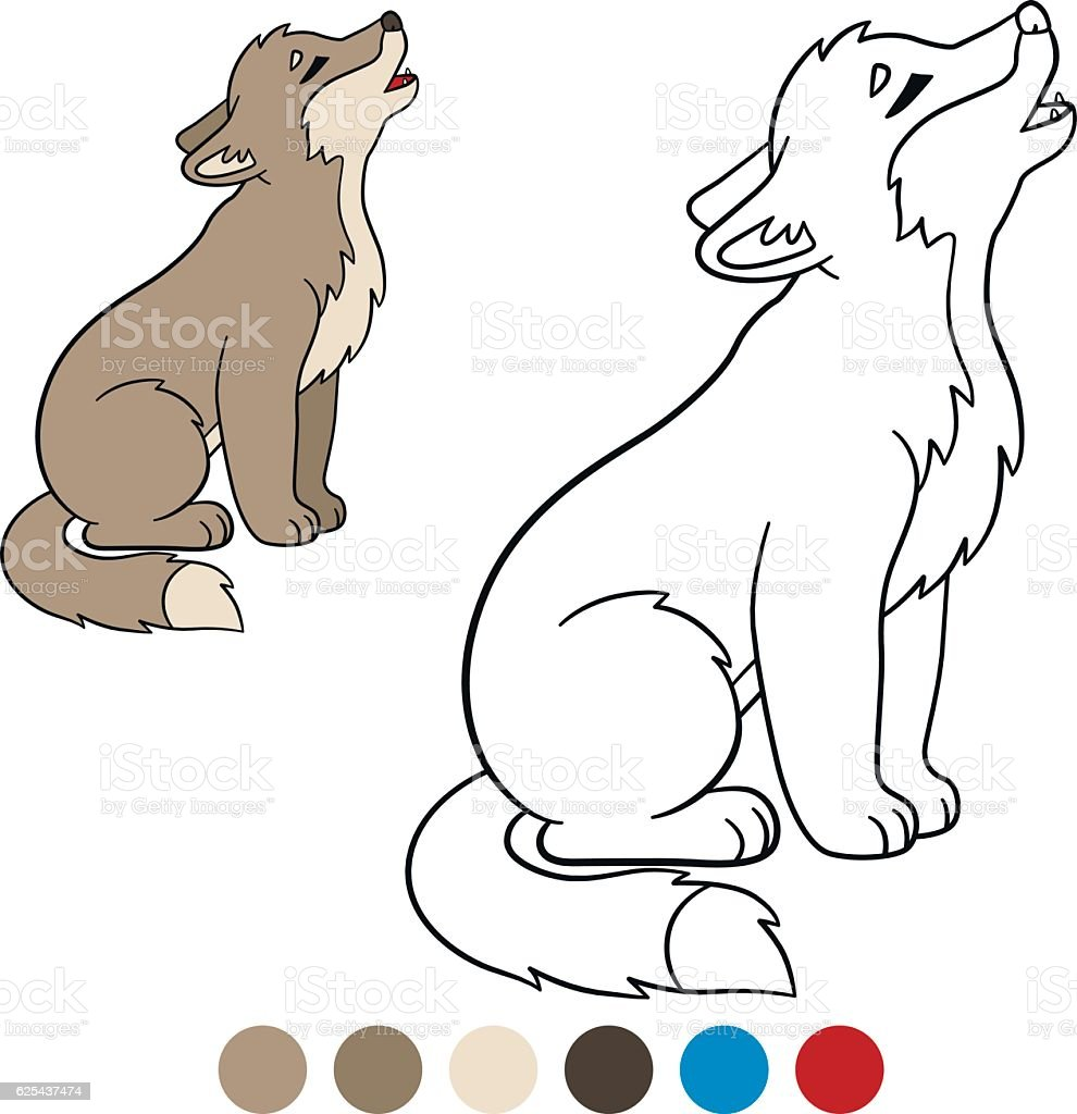 Color Me Wolf Little Cute Baby Wolf Howling Stock Illustration