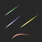 Color meteor and comet set. Vector illustration