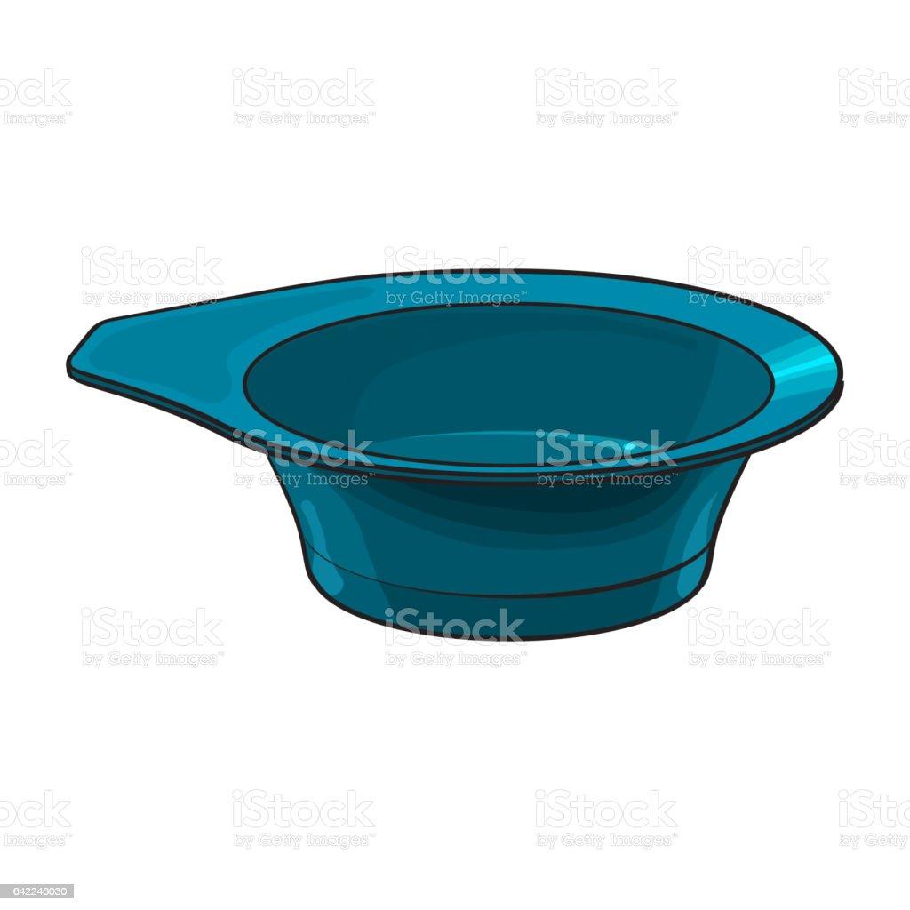 Color mixing plastic hairdresser bowl, sketch style vector illustration vector art illustration