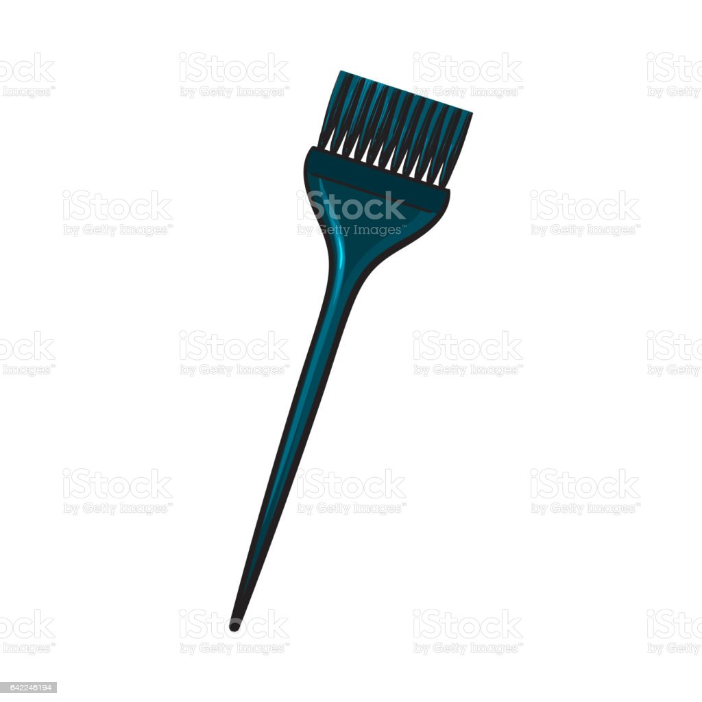 Color mixing plastic hairdresser brush, hairbrush, sketch style vector illustration vector art illustration