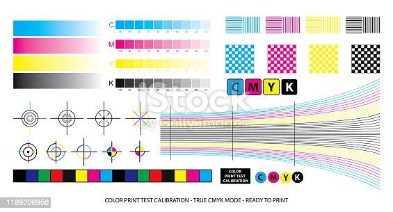 istock color mixing scheme or color print test calibration concept. 1189206958