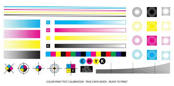 illustrazioni stock, clip art, cartoni animati e icone di tendenza di color mixing scheme or color print test calibration concept. - cmyk