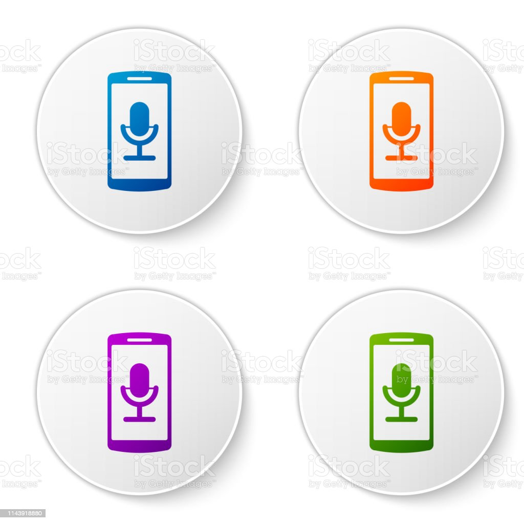 Color Mobile Recording Icon Isolated On White Background
