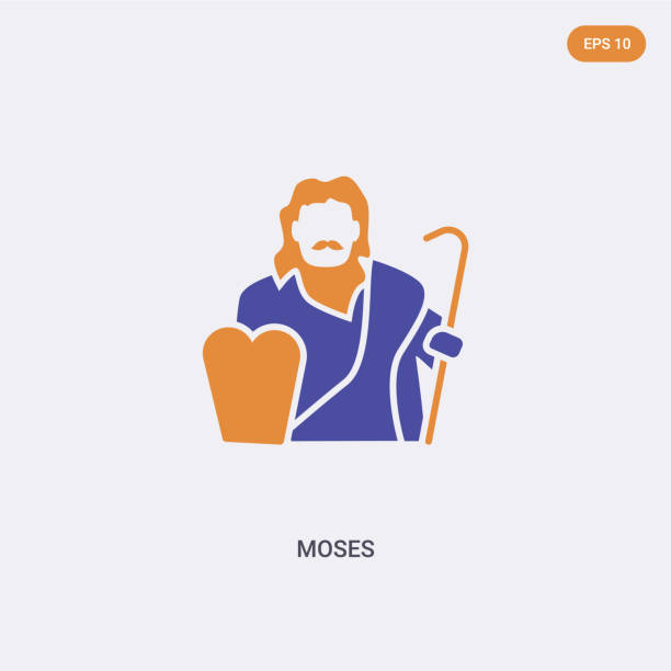 2 color Moses concept vector icon. isolated two color Moses vector sign symbol designed with blue and orange colors can be use for web, mobile and logo. eps 10 2 color Moses concept vector icon. isolated two color Moses vector sign symbol designed with blue and orange colors can be use for web, mobile and logo. eps 10 moses religious figure stock illustrations