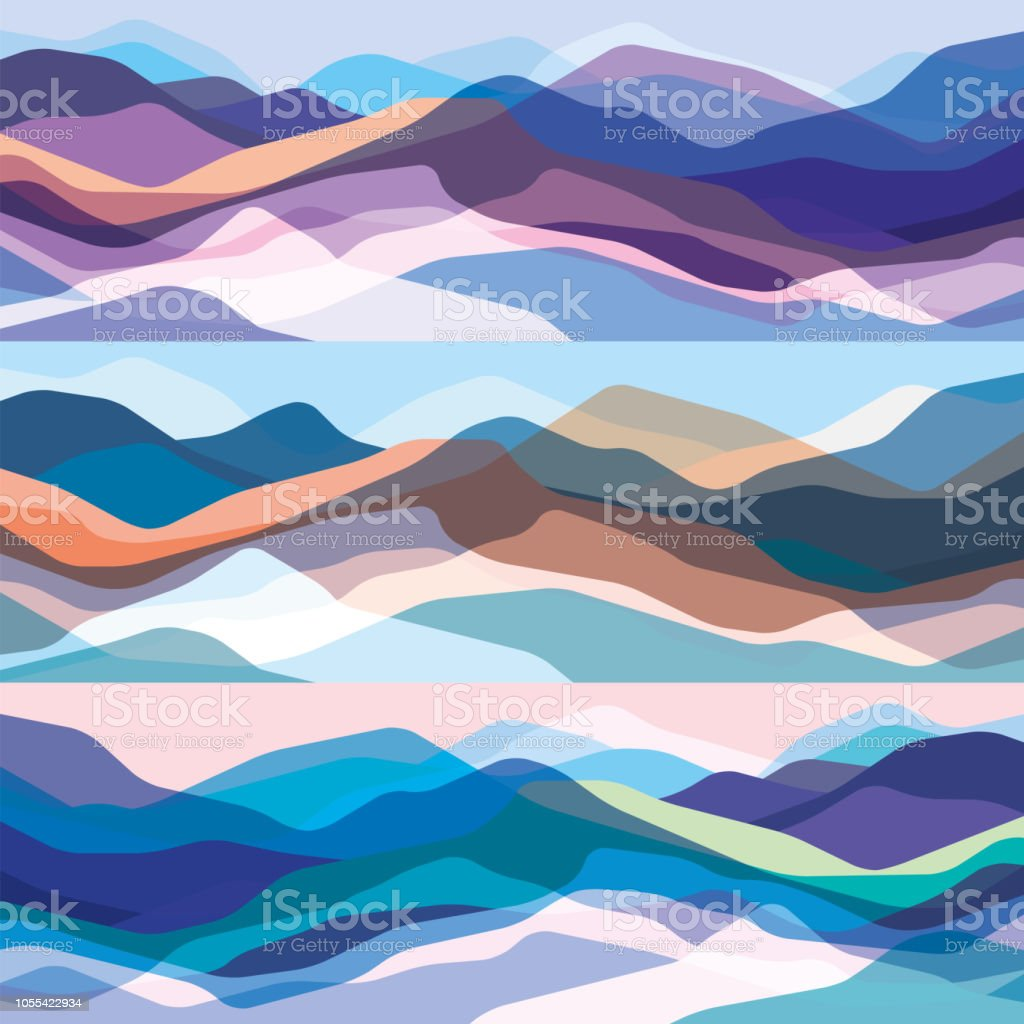 Color mountains set, translucent waves, abstract glass shapes, modern background, vector design Illustration for you project - Grafika wektorowa royalty-free (Abstrakcja)