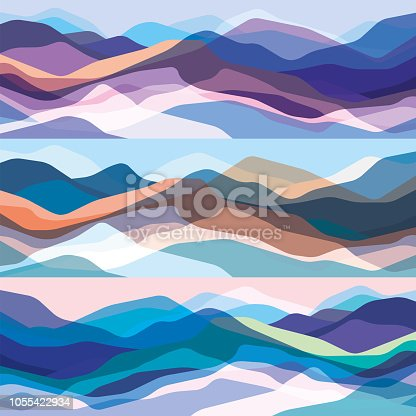 Color mountains set, translucent waves, abstract glass shapes, modern background, vector design Illustration for you project