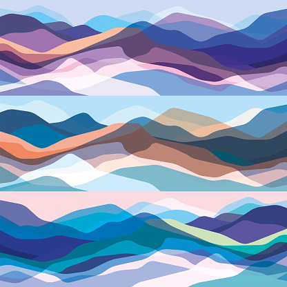 Color mountains set, translucent waves, abstract glass shapes, modern background, vector design Illustration for you project clipart