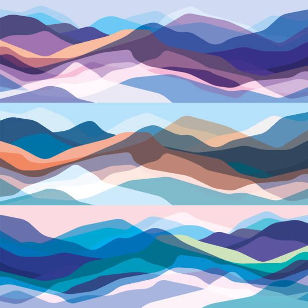 彩色山脈集, 半透明波浪, 抽象玻璃形狀, 現代背景, 向量設計圖為您的專案 - 大自然 幅插畫檔、美工圖案、卡通及圖標