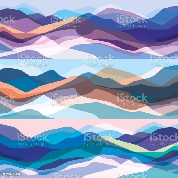 Color Mountains Set Translucent Waves Abstract Glass Shapes Modern Background Vector Design Illustration For You Project - Arte vetorial de stock e mais imagens de Abstrato