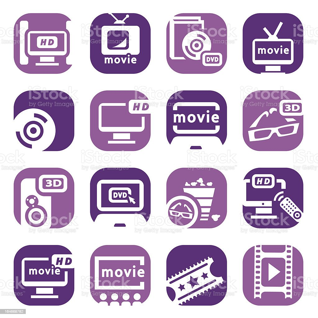 color movie icons set royalty-free stock vector art