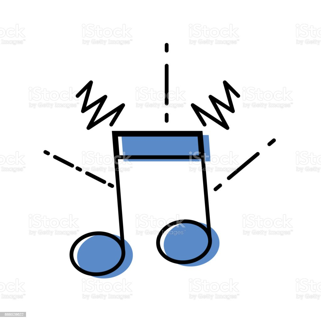 color musical note sign to rhythm sound vector art illustration
