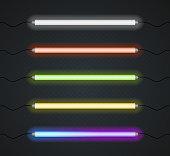 Color Neon Line Lamp Set. Vector