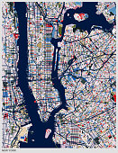 color New York city map illustration
