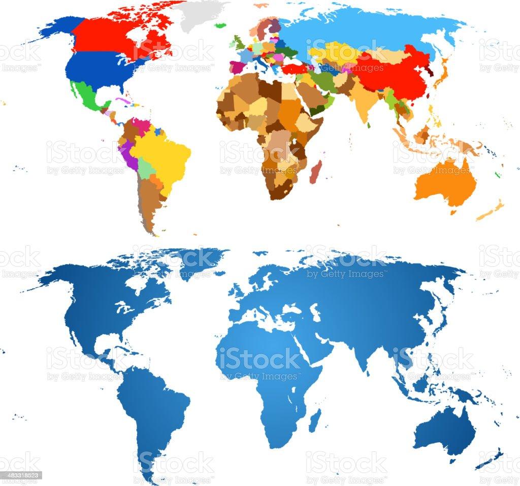 color de mapa mundial - ilustración de arte vectorial