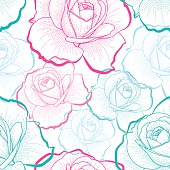 Red, green, blue outline roses on white background vector seamless pattern