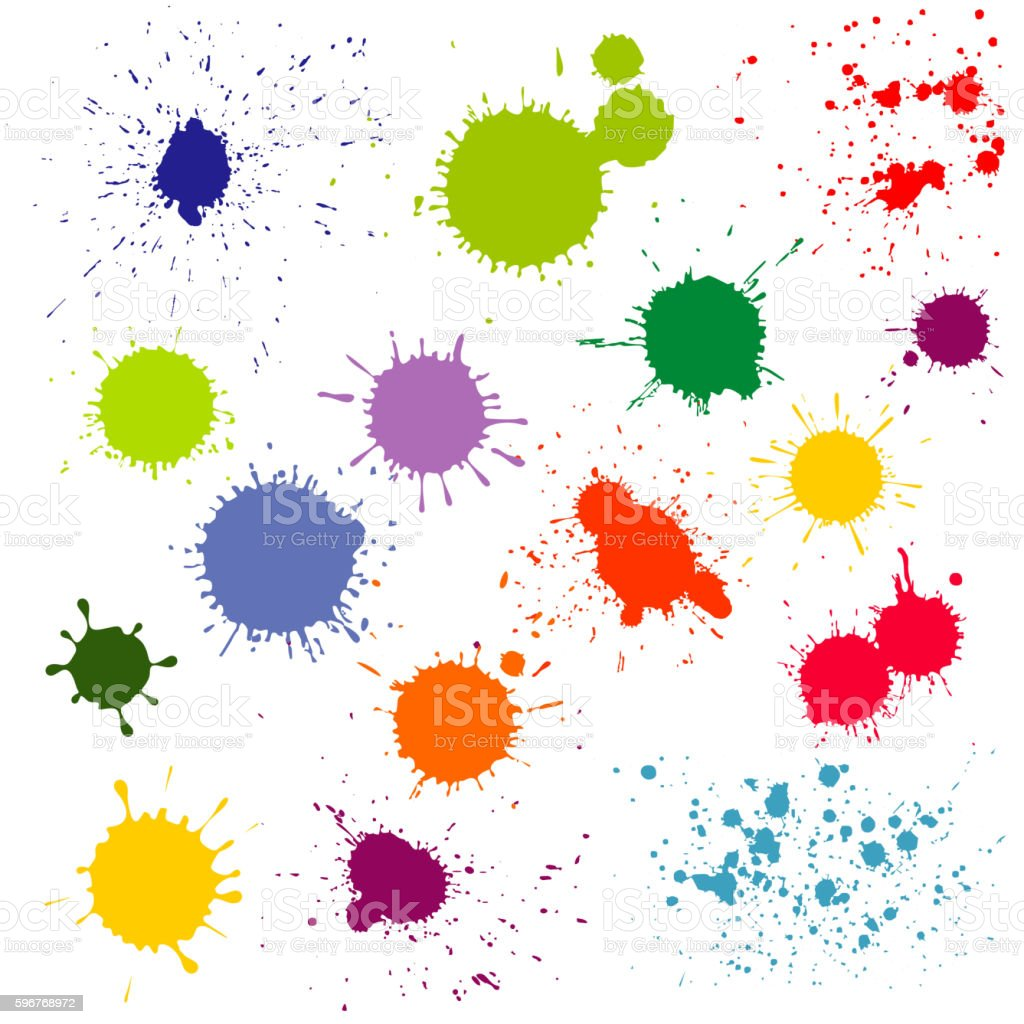 Color paint splatter, ink blots vector collection